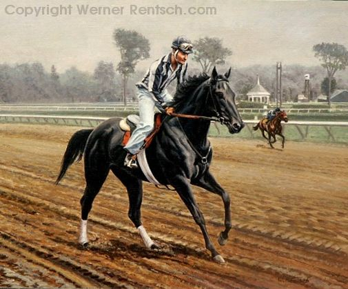 Morning Workout At Saratoga 14 X 18 Oil Painting Available Inquire